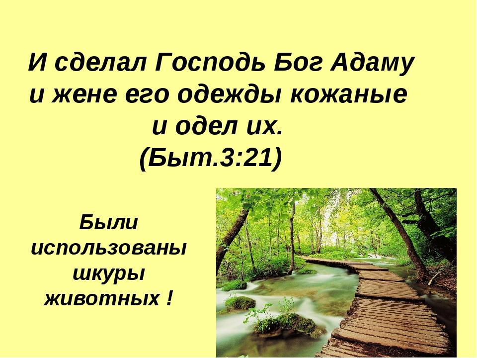 И сделал Господь Бог Адаму и жене его одежды кожаные и одел их. (Быт.3:21) Б...