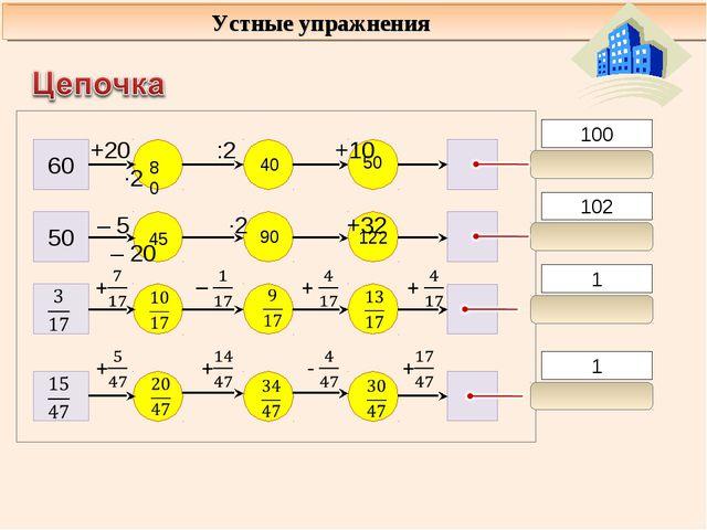 102 1 100 1 60 50 +20 :2 +10 ∙2 – 5 ∙2 +32 – 20 Устные упражнения 80 40 50 45...