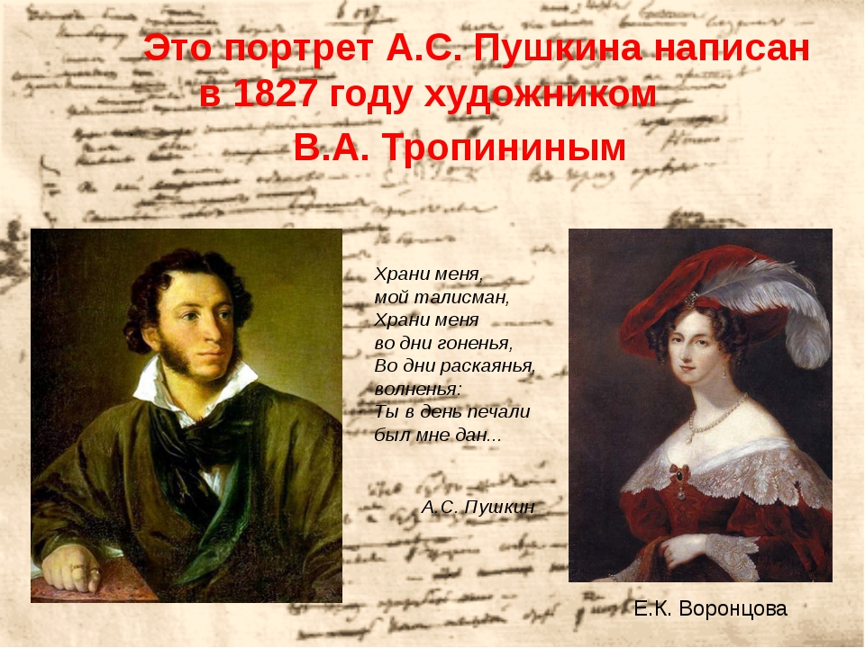 Это портрет А.С. Пушкина написан в 1827 году художником В.А. Тропининым Е.К...