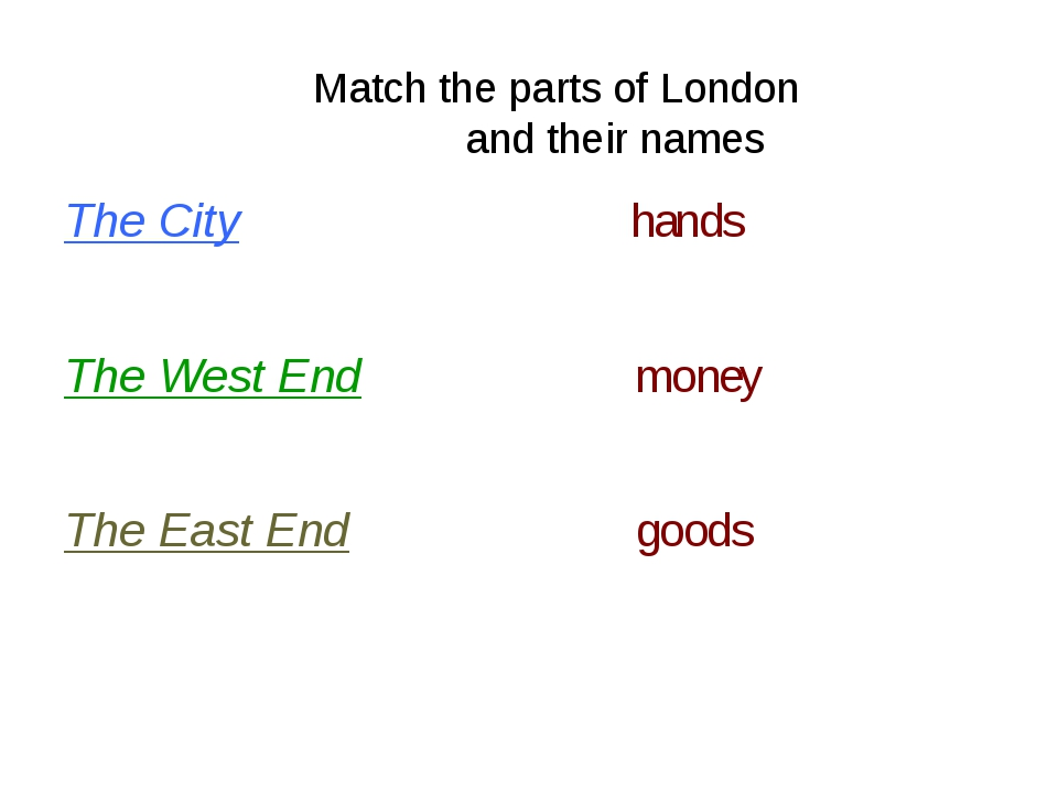 Match the parts of London and their names The City hands The West End money...