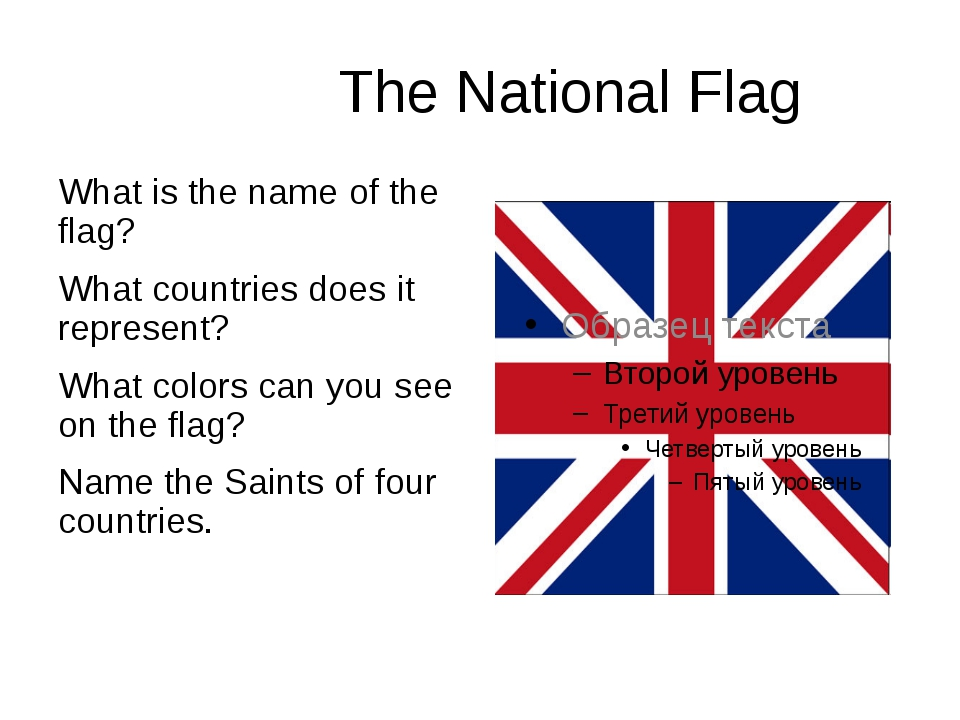 The National Flag What is the name of the flag? What countries does it repre...