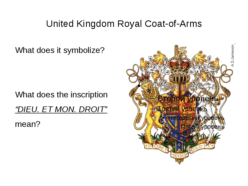 United Kingdom Royal Coat-of-Arms What does it symbolize? What does the inscr...