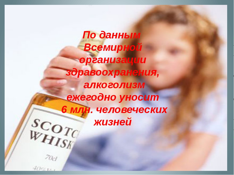 По данным Всемирной организации здравоохранения, алкоголизм ежегодно уносит...