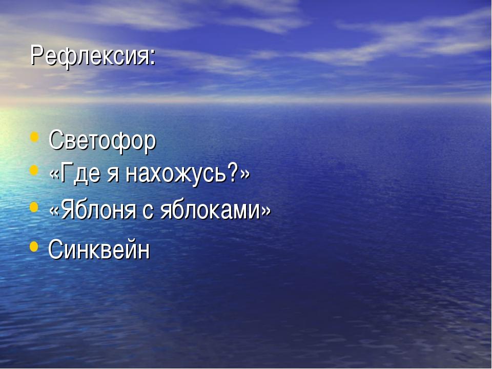 Рефлексия: Светофор «Где я нахожусь?» «Яблоня с яблоками» Синквейн