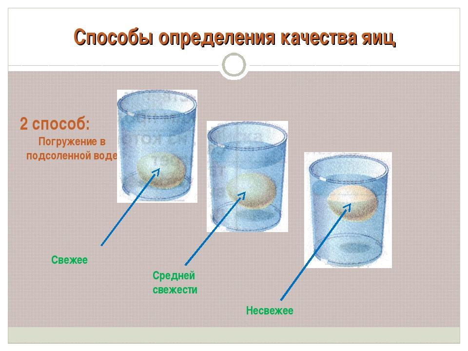 Способы определения качества яиц 2 способ: Погружение в подсоленной воде Свеж...