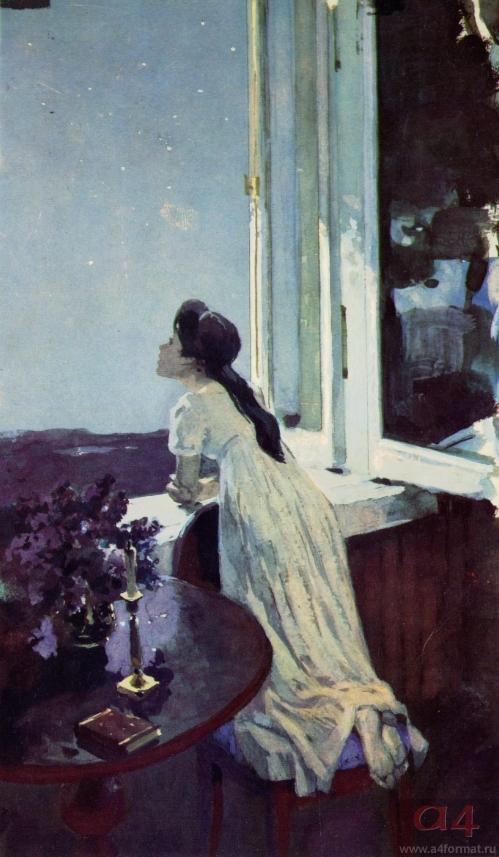 Наташа в Отрадном у окна. Художник А. Николаев. 1981