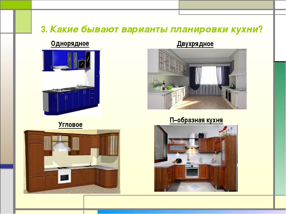 3. Какие бывают варианты планировки кухни? Однорядное Угловое Двухрядное П–об...
