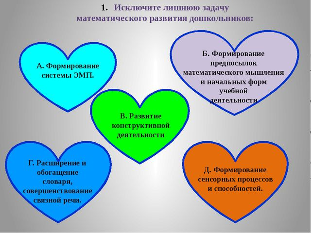 Исключите лишнюю задачу математического развития дошкольников: А. Формировани...