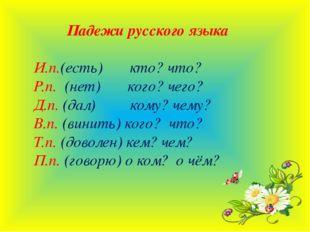 Падежи русского языка И.п.(есть) кто? что? Р.п. (нет) кого? чего? Д.п. (дал)
