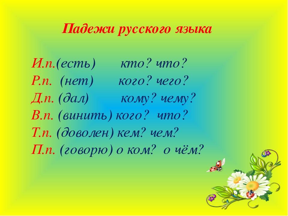 Падежи русского языка И.п.(есть) кто? что? Р.п. (нет) кого? чего? Д.п. (дал)...