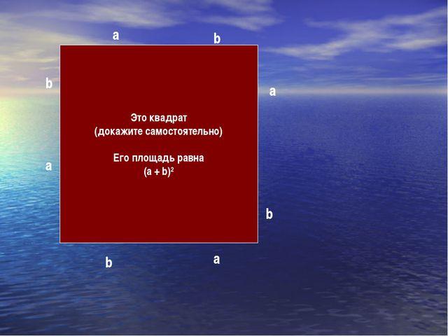 Это квадрат (докажите самостоятельно) Его площадь равна (a + b)2