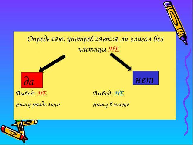Определяю, употребляется ли глагол без частицы НЕ Вывод: НЕ Вывод: НЕ пишу...