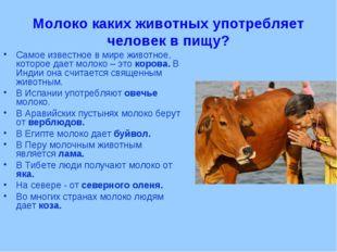 Молоко каких животных употребляет человек в пищу? Самое известное в мире живо