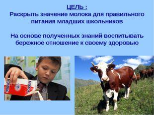 ЦЕЛЬ : Раскрыть значение молока для правильного питания младших школьников На