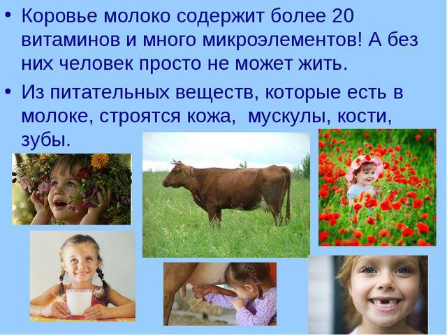 Коровье молоко содержит более 20 витаминов и много микроэлементов! А без них...