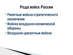 Ракетные войска стратегического назначения Войска воздушно-космической оборон