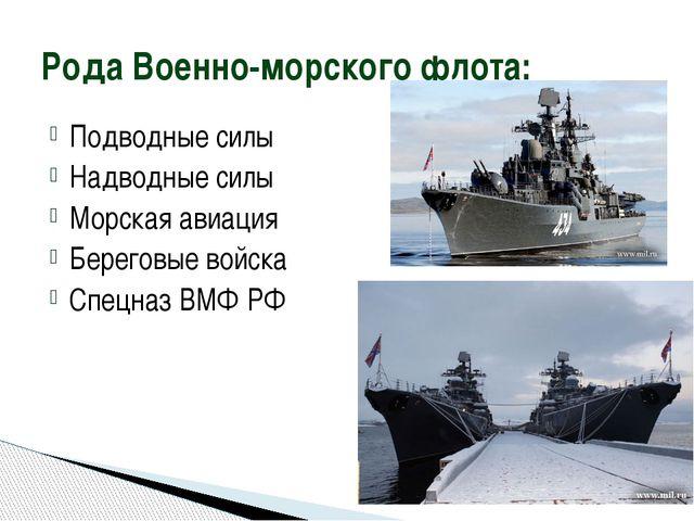 Подводные силы Надводные силы Морская авиация Береговые войска Спецназ ВМФ РФ...