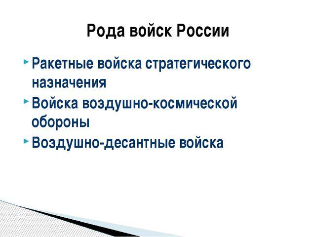 Ракетные войска стратегического назначения Войска воздушно-космической оборон...