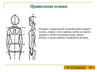 Правильная осанка Человек с правильной осанкой прямо держит голову, спина у н