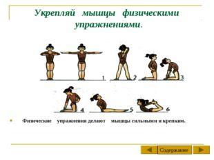 Укрепляй мышцы физическими упражнениями. Физические упражнения делают мышцы с