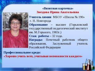 «Визитная карточка» Звездова Ирина Анатольевна Учитель химии МБОУ «Школа № 19