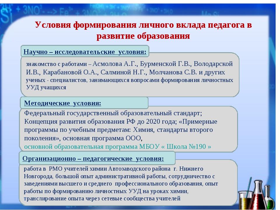 Условия формирования личного вклада педагога в развитие образования Методичес...