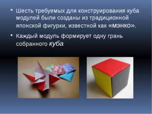 Шесть требуемых для конструирования куба модулей были созданы из традиционной