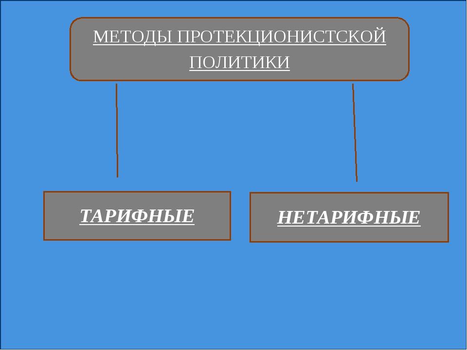МЕТОДЫ ПРОТЕКЦИОНИСТСКОЙ ПОЛИТИКИ ТАРИФНЫЕ НЕТАРИФНЫЕ