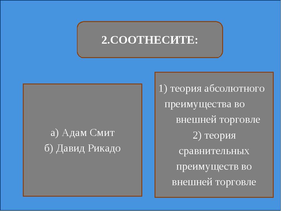 2.СООТНЕСИТЕ: а) Адам Смит б) Давид Рикадо 1) теория абсолютного преимущества...