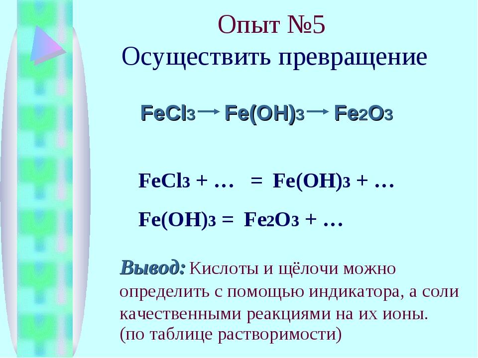 Опыт №5 Осуществить превращение FeCl3 Fe(OH)3 Fe2O3 FeCl3 + … = Fe(OH)3 + … F...