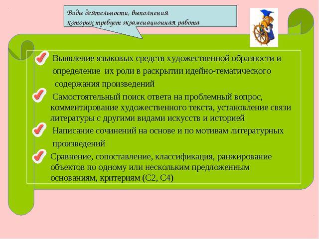 Виды деятельности, выполнения которых требует экзаменационная работа Выявлени...