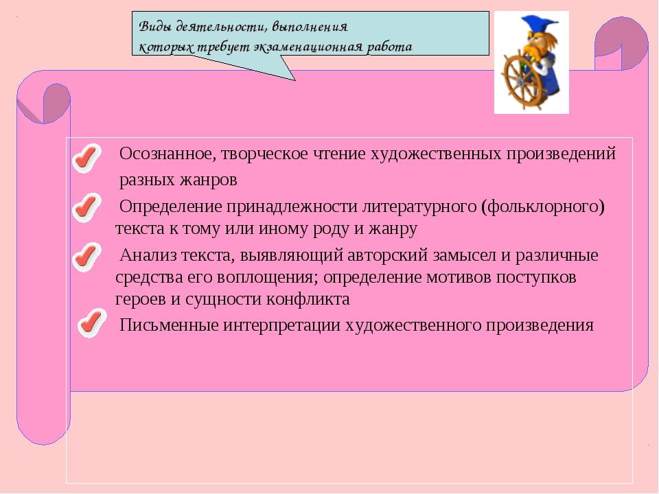 Виды деятельности, выполнения которых требует экзаменационная работа Осознанн...