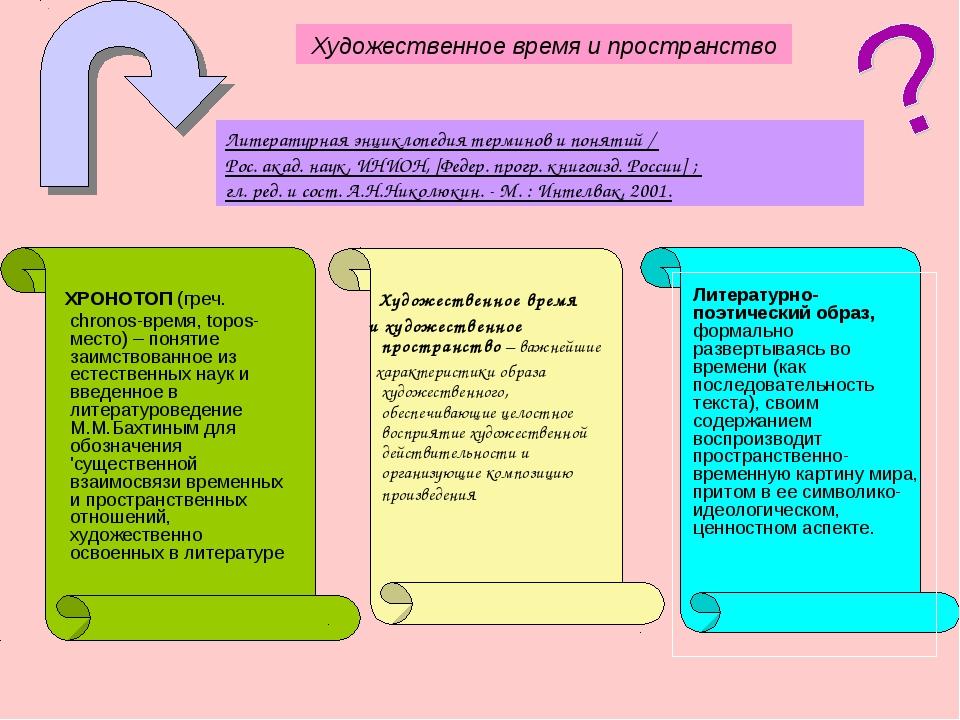 Художественное время и пространство Литературная энциклопедия терминов и пон...