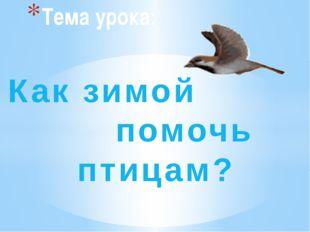 Как зимой помочь птицам? Тема урока: