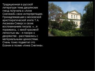 Традиционная в русской литературе тема дворянских гнезд получила в «Анне Снег