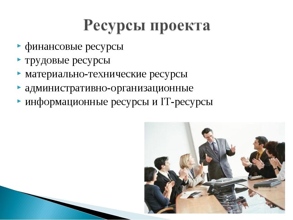 финансовые ресурсы трудовые ресурсы материально-технические ресурсы администр...