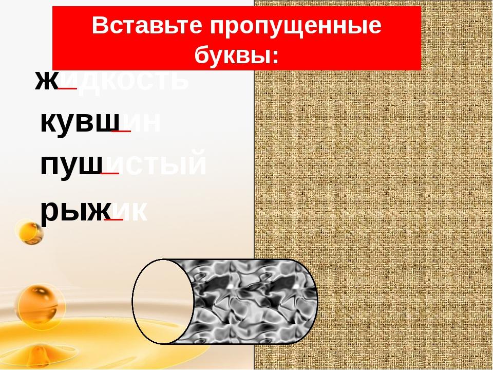 Вставьте пропущенные буквы: жидкость кувшин пушистый рыжик