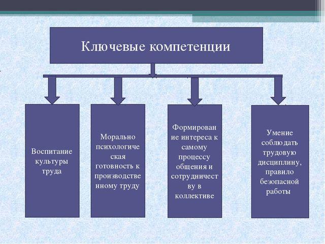 Ключевые компетенции Воспитание культуры труда Морально психологическая готов...