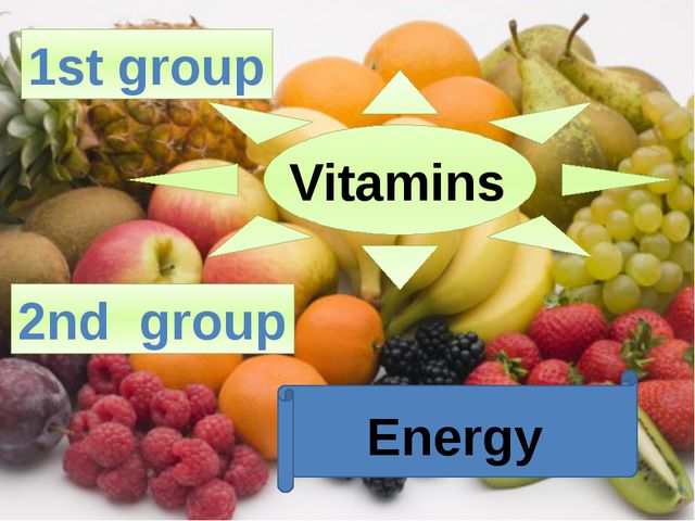 1st group Vitamins 2nd group Energy