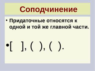 Соподчинение Придаточные относятся к одной и той же главной части. [ ], ( ),