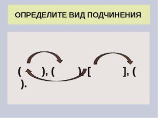( ), ( ), [ ], ( ). ОПРЕДЕЛИТЕ ВИД ПОДЧИНЕНИЯ
