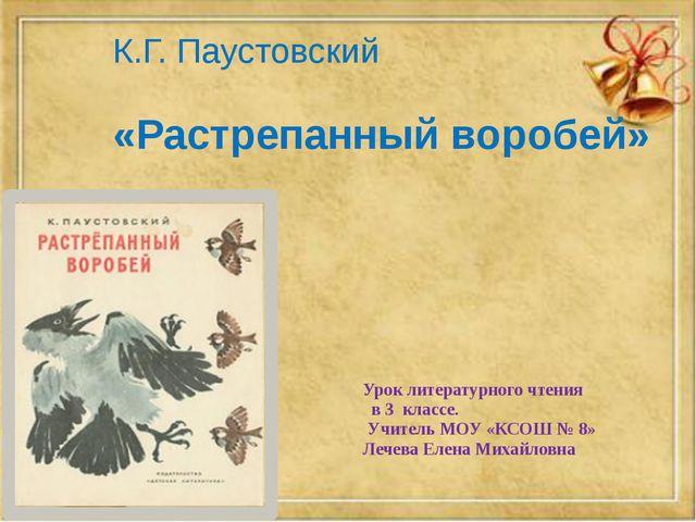 К.Г. Паустовский «Растрепанный воробей» Урок литературного чтения в 3 классе....