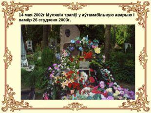 14 мая 2002г Мулявін трапіў у аўтамабільную аварыю і памёр 26 студзеня 2003г.