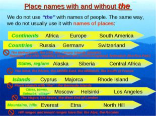 """Place names with and without the We do not use """"the"""" with names of people. Th"""