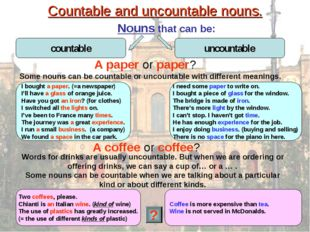Countable and uncountable nouns. Nouns that can be: A paper or paper? I bough