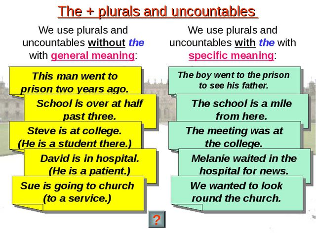 The + plurals and uncountables We use plurals and uncountables without the wi...