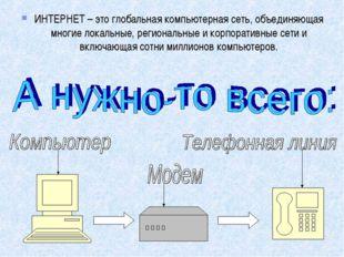 ИНТЕРНЕТ – это глобальная компьютерная сеть, объединяющая многие локальные, р