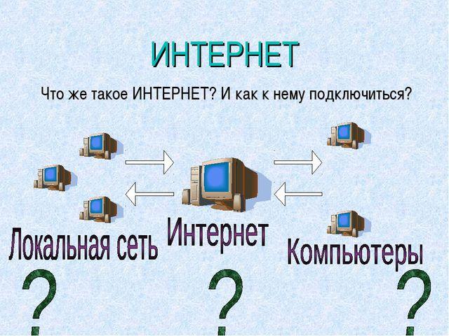 ИНТЕРНЕТ Что же такое ИНТЕРНЕТ? И как к нему подключиться?