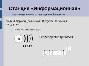 Станция «Информационная» Строение атома железа Положение железа в Периодическ