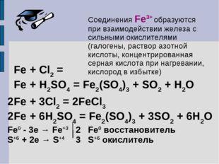 Соединения Fe3+ образуются при взаимодействии железа с сильными окислителями